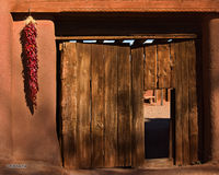 New Mexico, Golondrinas, ristras, gate, doorway, plaza