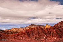 New Mexico,Ghost Ranch,Chimney Rock,clouds,badlands
