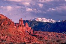 Moab,Fisher Towers,Manti La Sal,clouds