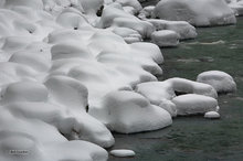 South Fork Stillaguamish River,winter,snow hummocks