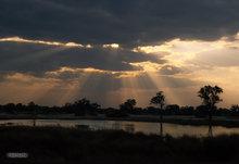 Africa,Botswana,Okavango delta,crepuscular rays,clouds