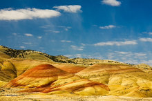 Painted Hills,clouds,bentonite,sunrise