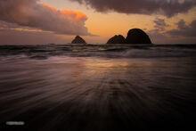 Oregon, coast, Oceanside, sunrise, sea stack, clouds, Three Arch Rocks NWR