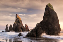 Ruby Beach, sea stack, sunset