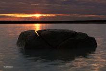 Kenai River, sunrise, split boulder, Kenai Peninsula, Alaska