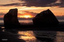 sunset,Clam Beach,Reflections,mud flats,boulders,Mt. Redoubt,Kenai Peninsula,Alaska