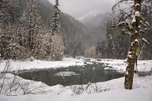 South Fork Stillaguamish River,snow hummocks