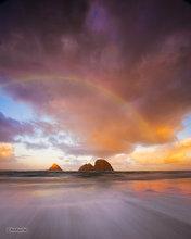 Oregon,coast,Oceanside,sunrise,sea stack,clouds,rainbow,Three Arch Rock