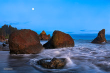 Ruby Beach,sea stack,sunset,moon,twilight