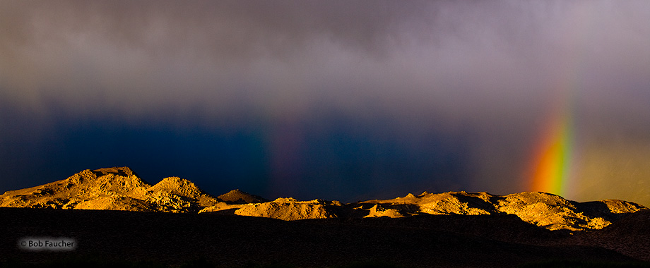 Owens Valley,morning,rainbow; Buttermilk Mountains, photo