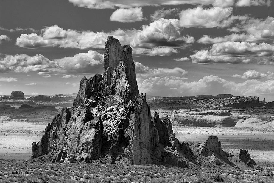 The volcanic plug known as Church Rock rises alongside the Laguna Creek wash
