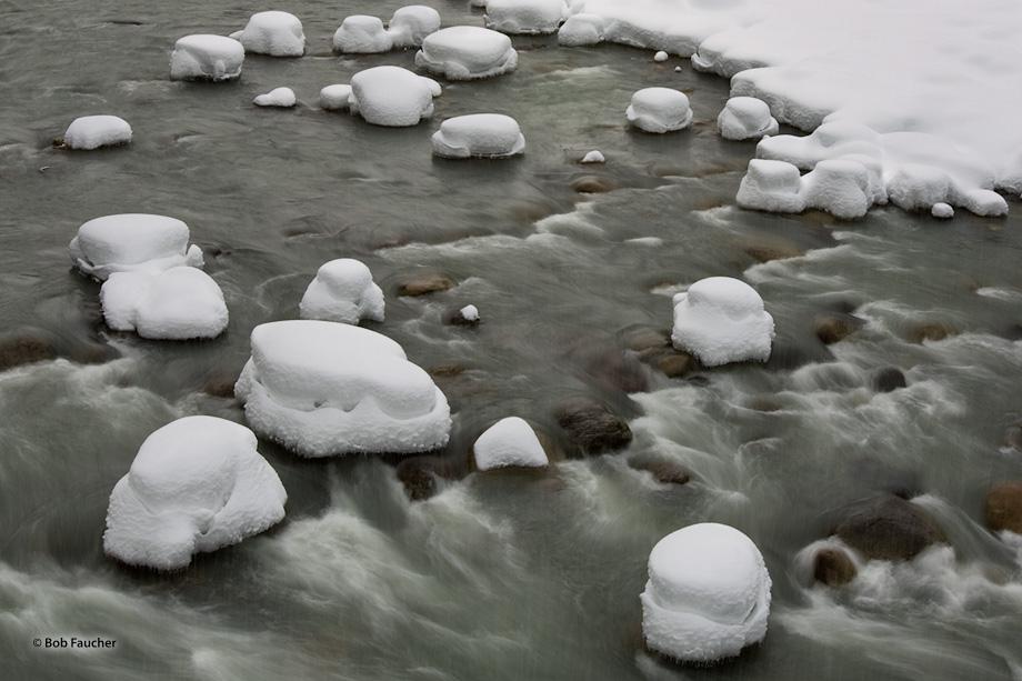 South Fork Stillaguamish River,winter,snow hummocks, photo