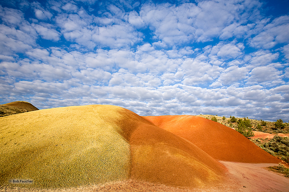 The orange and yellow colors and smooth rounded forms of the bentonite hils contrast with the blue skies and popcorn clouds.