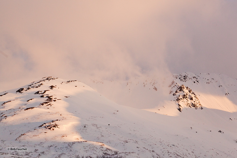 Afternoon light turns low, thin snow clouds, and the snow fields below, a delicious pink