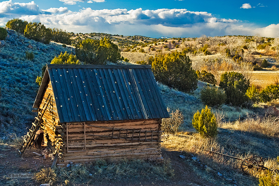 The ranchhand's barn with an expansive view of El Rancho de Las Golondrinas, a living history museum.