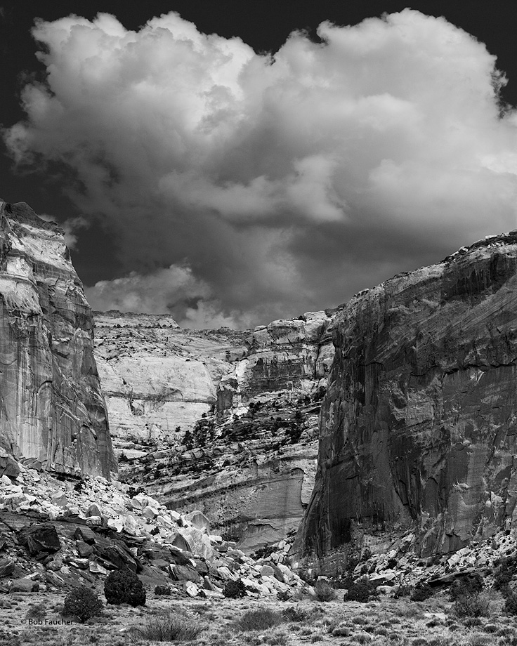 Cumulus clouds form over Grand Wash in Capitol Reef NP