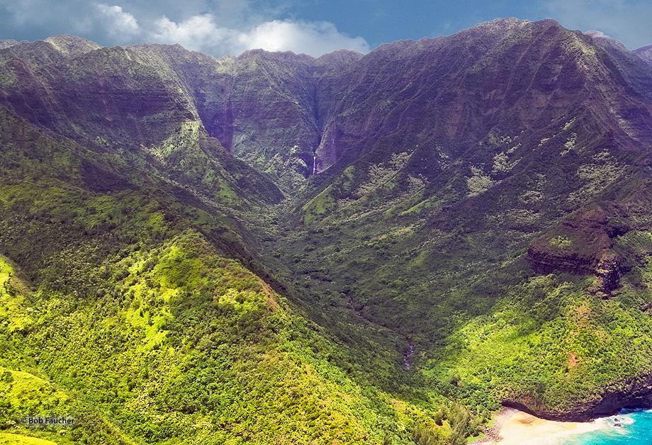 Hanakapi'ai Valley,Kauai,waterfall,Na Pali coast, photo