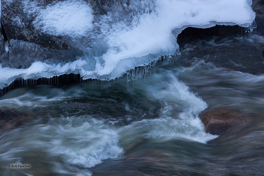 Ice and snow shelves form on the sides of rocks along the river. These, in turn, form icicles from snow melt and water splashed...
