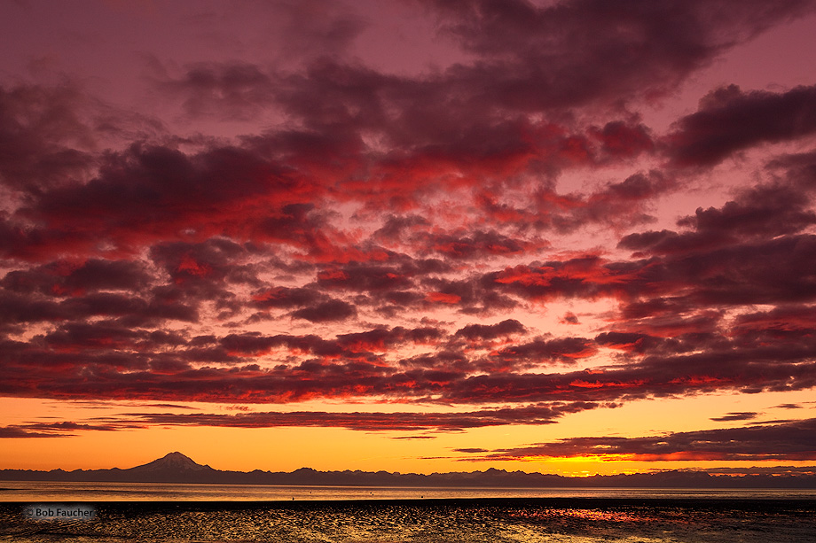 Sunset,Kasilof Beach,Cigmit Mountains,Alaska, photo