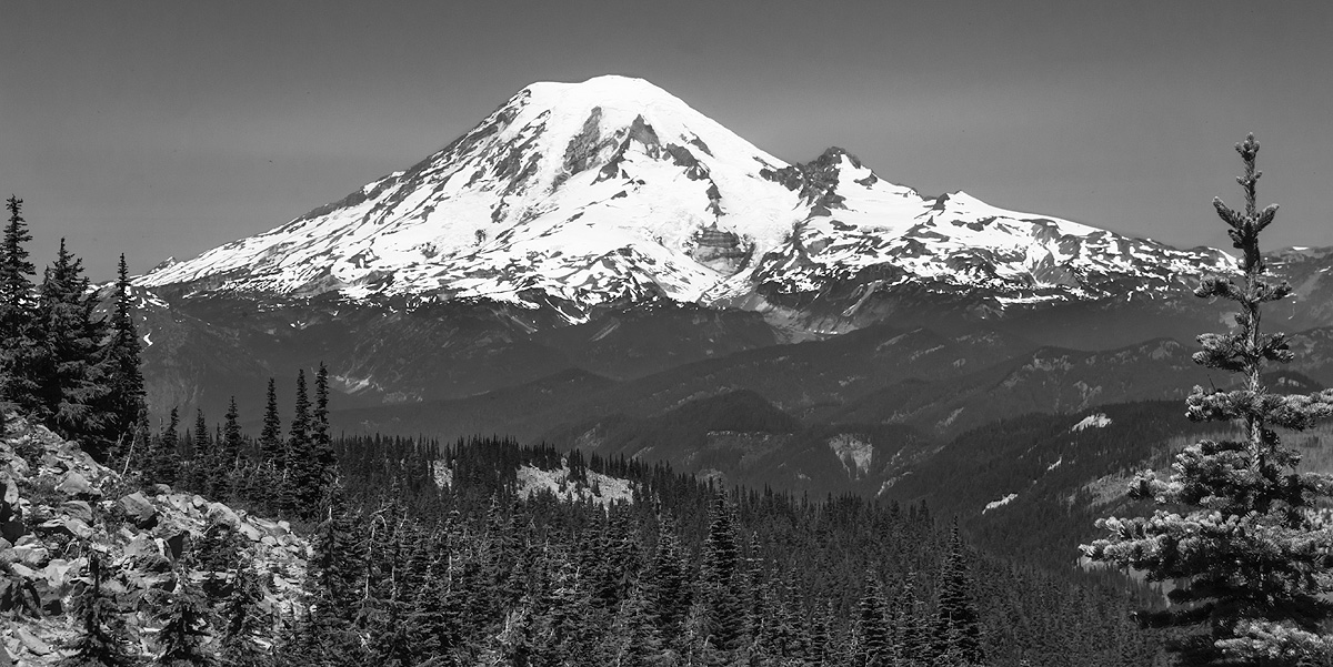 Mt. Rainier as viewed from the Pacific Crest Trail South in the Goat Rocks Wilderness