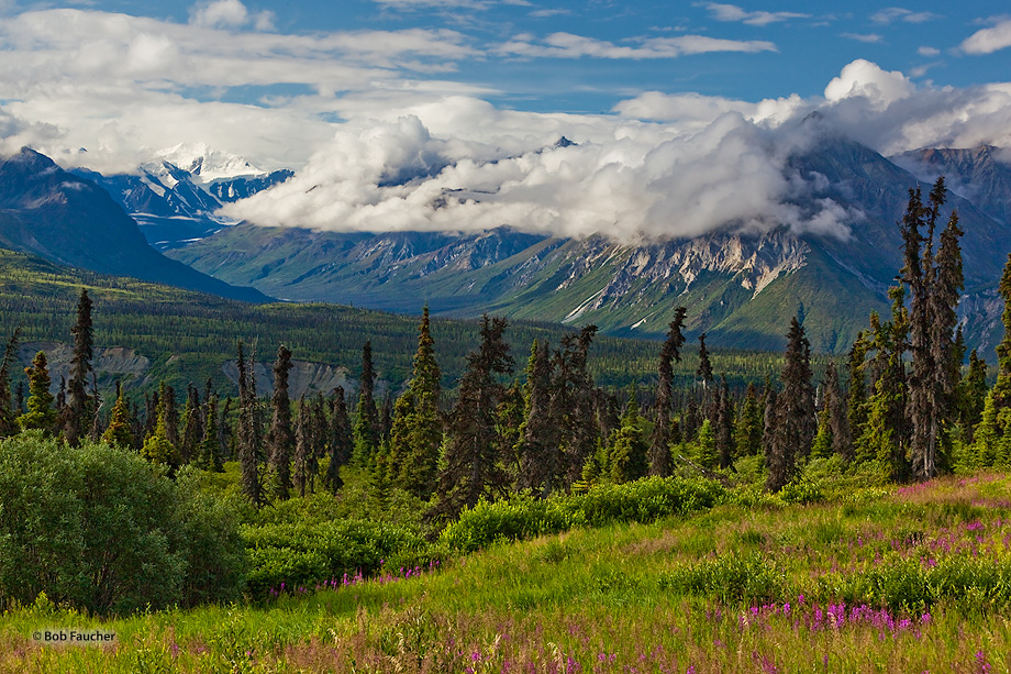 As seen from the Glenn Highway, Majestic Valley is surrounded by mountain peaks named after the Scandinavian countries—Finland...