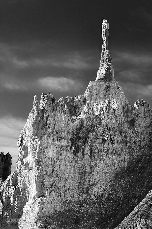 This spire, atop a hoodoo adjacent to the upper Navajo Loop Trail, reminds me of the angel Moroni statue atop the Mormon Tabernacle...