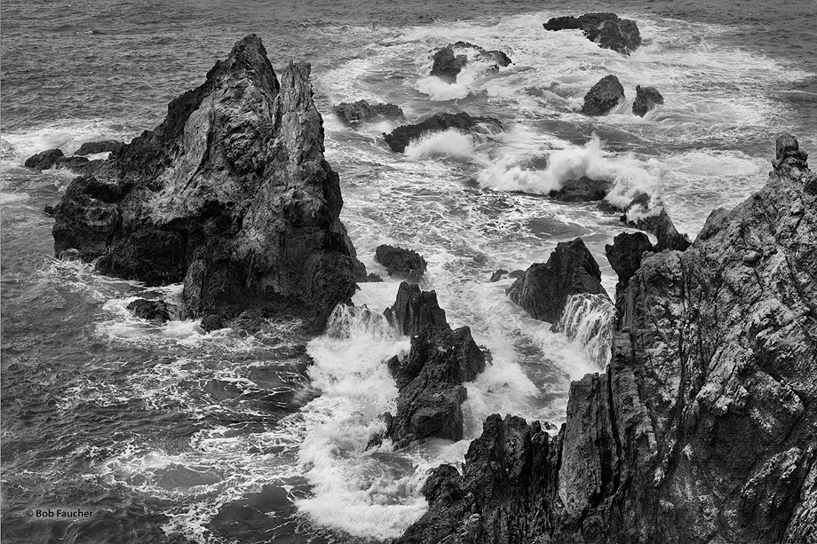 Sea stacks off the headlands of Noyo Point in Fort Bragg are pummeled constantly by the crashing waves of the Pacific Ocean