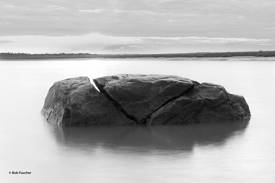 Kenai River,sunrise,split boulder,Kenai Peninsula,Alaska, photo