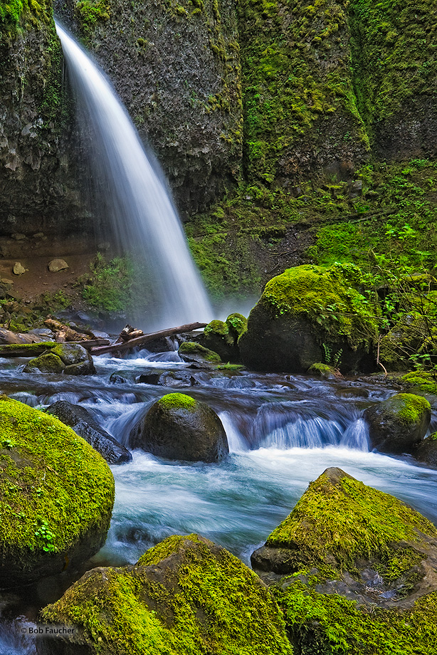 Shortly before making the thunderous 88 foot  plunge over Ponytail Falls, Horsetail Creek is shot through a narrow crack and...