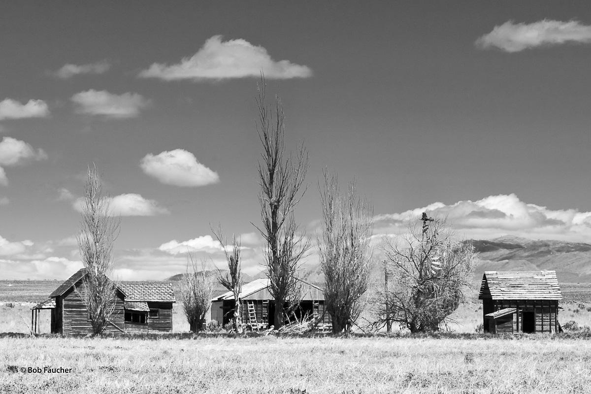 Row of derelict buildings showing various stages of disrepair in Clark Valley, Utah