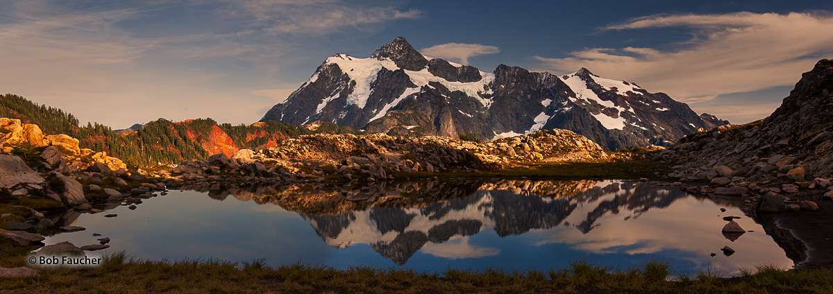 Late afternon light on the flanks of Mt. Shuksun, as seen from Artist's Point, with it's reflection in a tarn