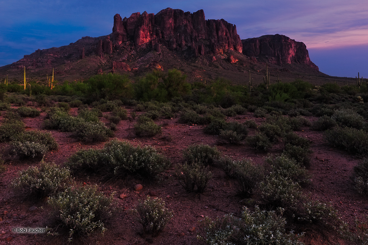 Early Fall evening light on Flatiron Peak in the Superstition Wilderness Area. The Superstition Mountains is a range of rugged...