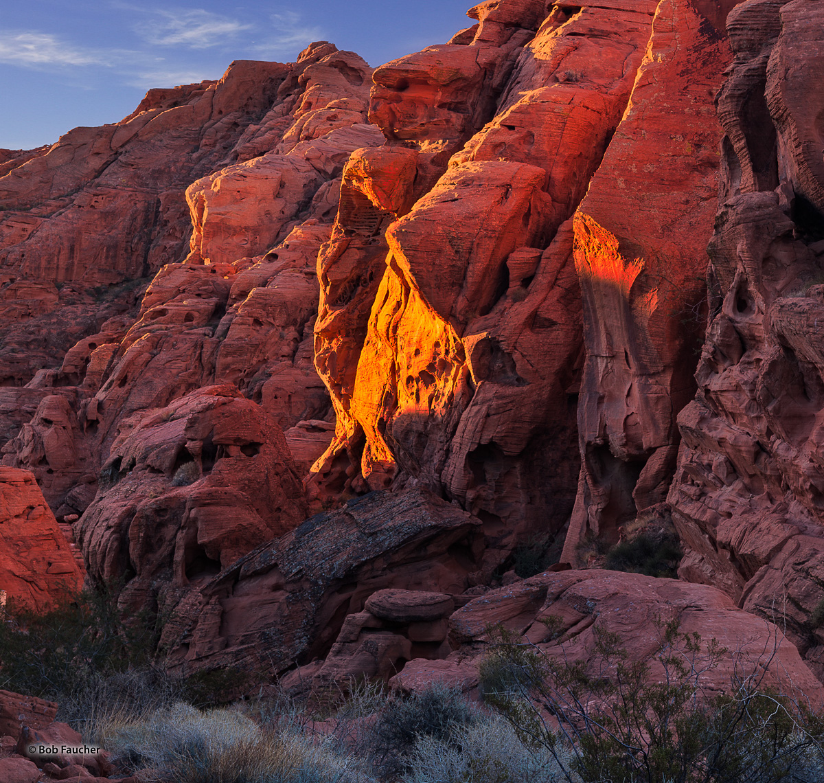 Morning light sets the rock walls of Valley of Fire SP ablaze