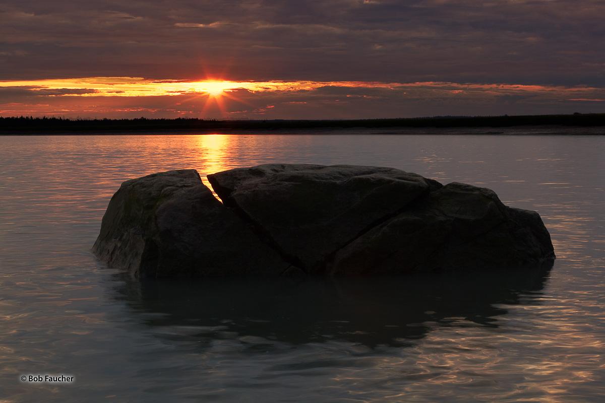 Kenai River, sunrise, split boulder, Kenai Peninsula, Alaska, photo