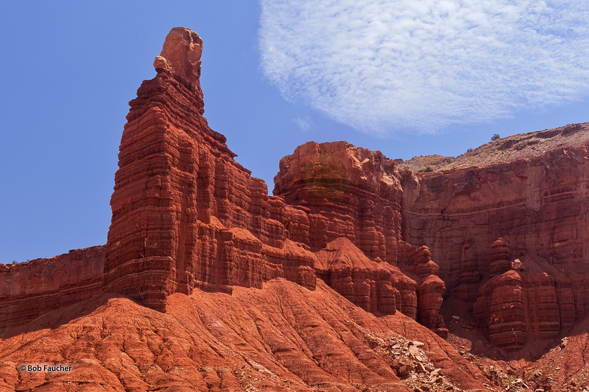 Chimney Rock stands near the entrance of Capitol Reef NP