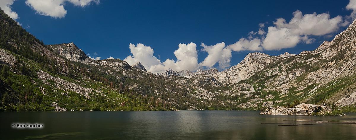 Morning light floods Lake Sabrina and the Sierra Nevada mountains surrounding it