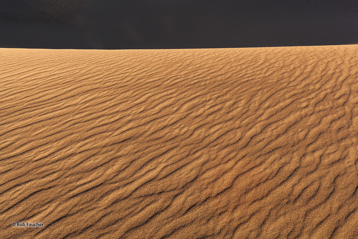 Morning light illuminates the east-facing surface of a sand dune while the dunes behind it remain in shadow, with only the slightest...