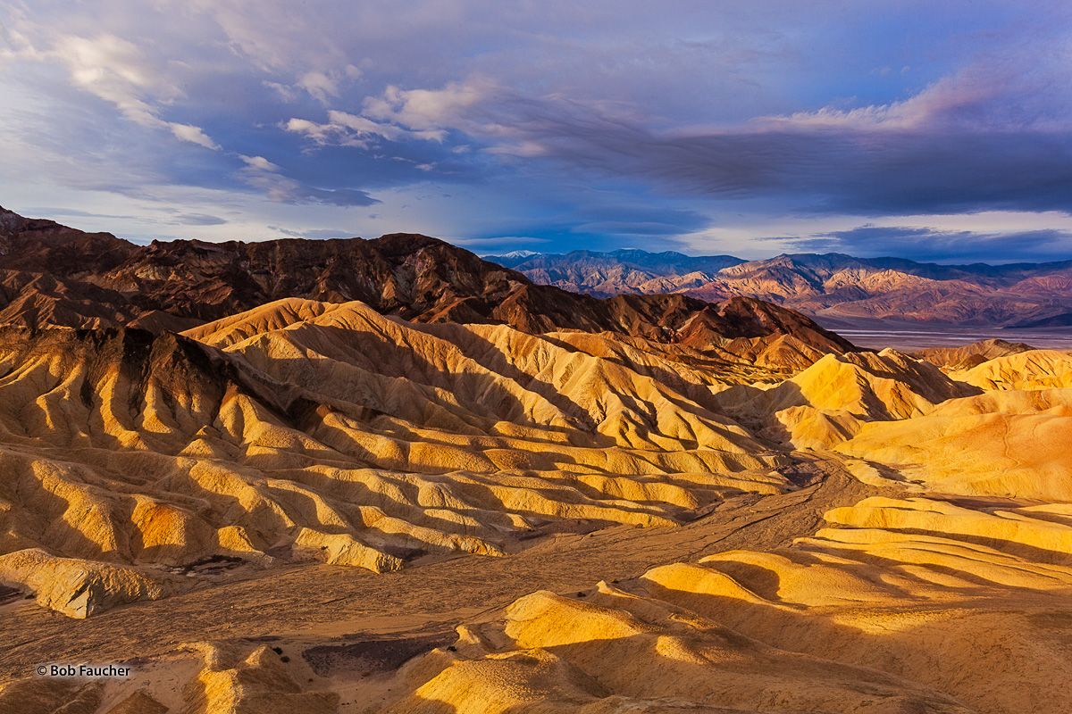 When the morning's golden light came roaring in the otherworldly scenery at Zabriskie Point took on a magical glow—soft, warm...