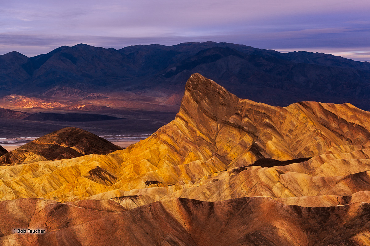 Manly Beacon is a towering spire that rises above the Death Valley badlands. From the Zabriskie vantage point look towards Northwest...