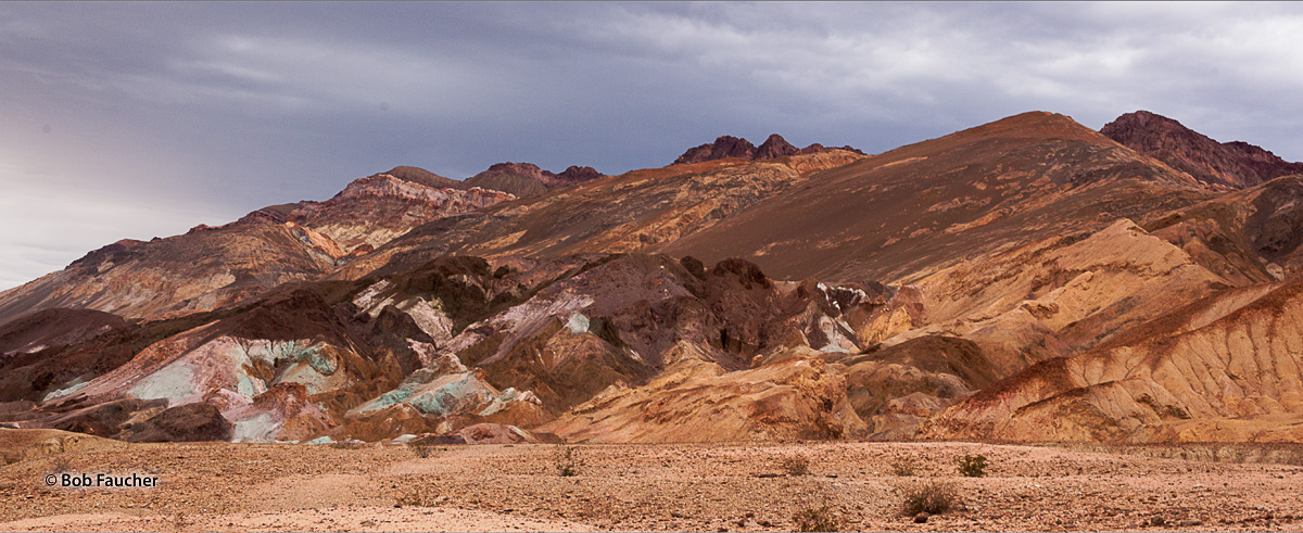 Artist's Drive off Badwater Road crosses the sloping mountainside below Zabriskie Point. Here you will find vibrant soil colored...