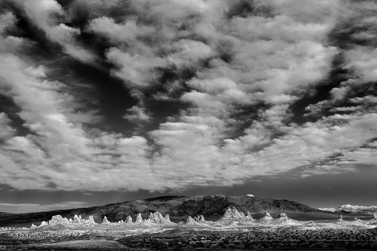 Trona Pinnacles, tufa, clouds, photo
