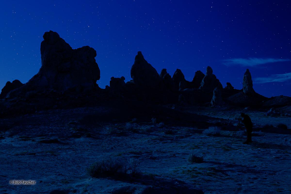 Trona Pinnacles, Blue Hour, starfield, silhouette, photo