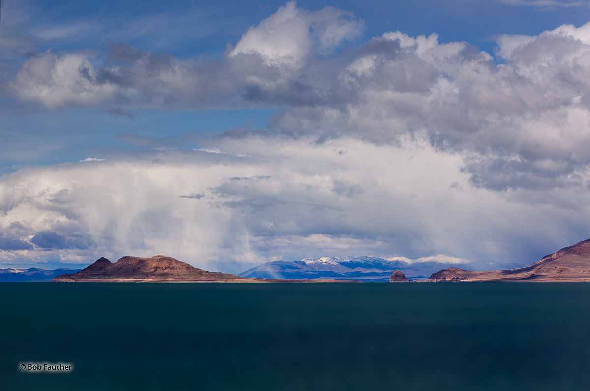 Anaho Island and Pyramid Rock are sacred to the Pyramid Lake Paiute Tribe. On this Morning rain was falling near these landmarks...