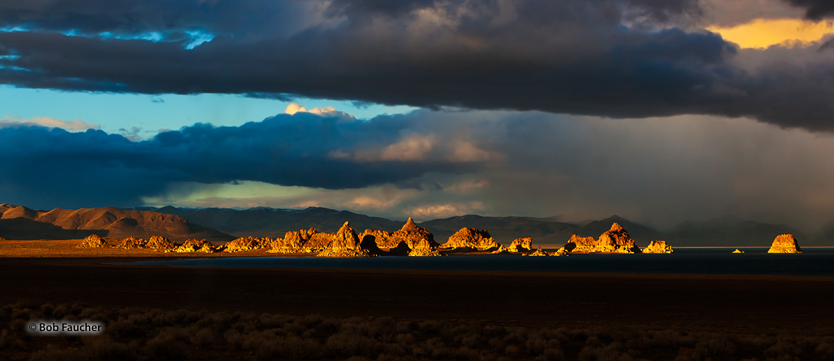 Late afternoon Golden Hour light casts a warm glow on the Needles, a group of tufa formations at the north end of Pyramid Lake...