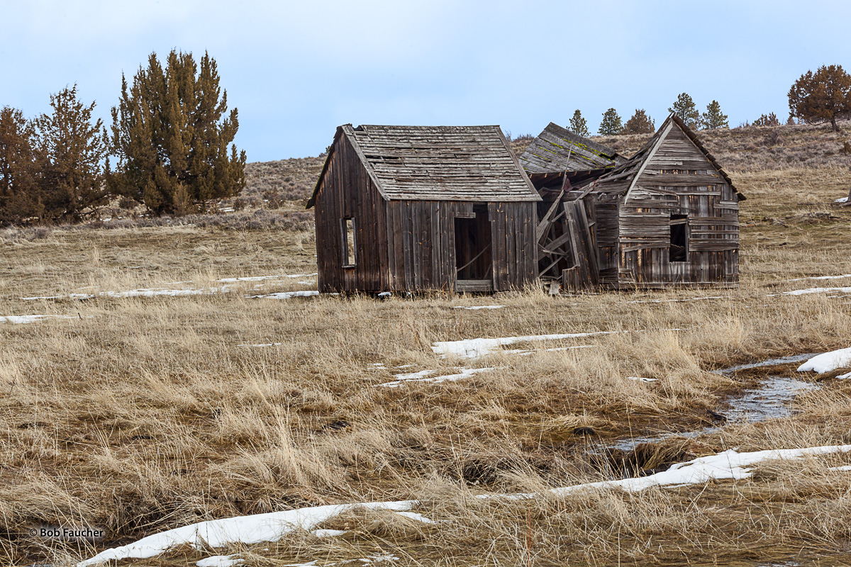Derelict building encountered along the Lewiston Highway