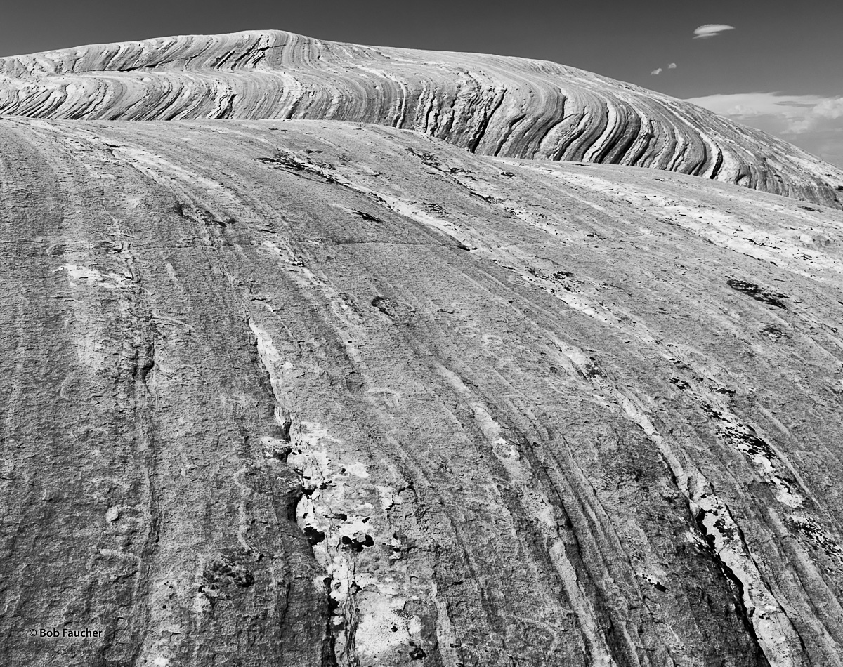 A field of petrified sand dunes, located near the entrance to the Needles district of Canyonlands NP, show the distinct layers...
