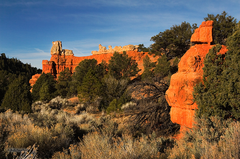 The entrance to Red Canyon is marked by this distinctive wall and hoodoos