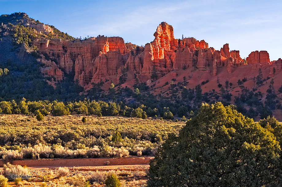 The sandstone walls at the entrance to Red Canyon glow with the backlight of morning sun