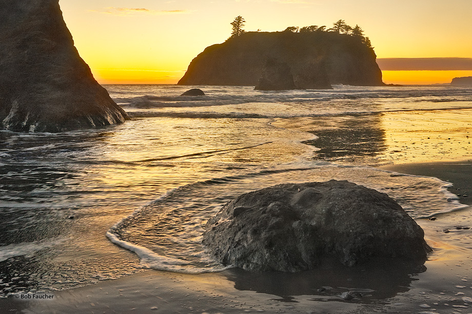 Ruby Beach,sea stack,sunset,reflection, photo