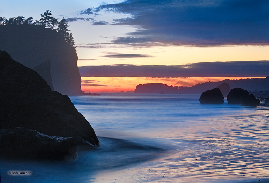Ruby Beach,sea stack,sunset, photo